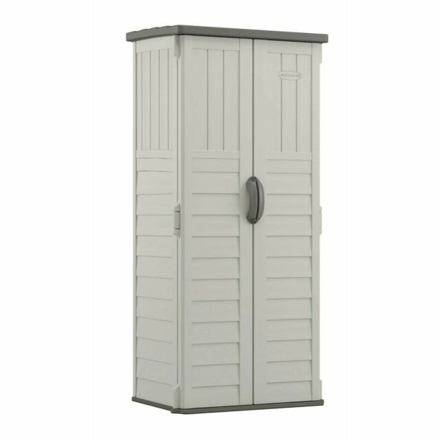 Outdoor Storage Shed Tall Plastic Garden Tool Cabinet Vertical Utility Cupboard For Online