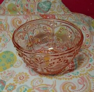 "FITZ AND FLOYD ""TRESTLE"" GLASS DEEP SOUP CEREAL BOWLS *SET OF 12* BLUSH PINK"