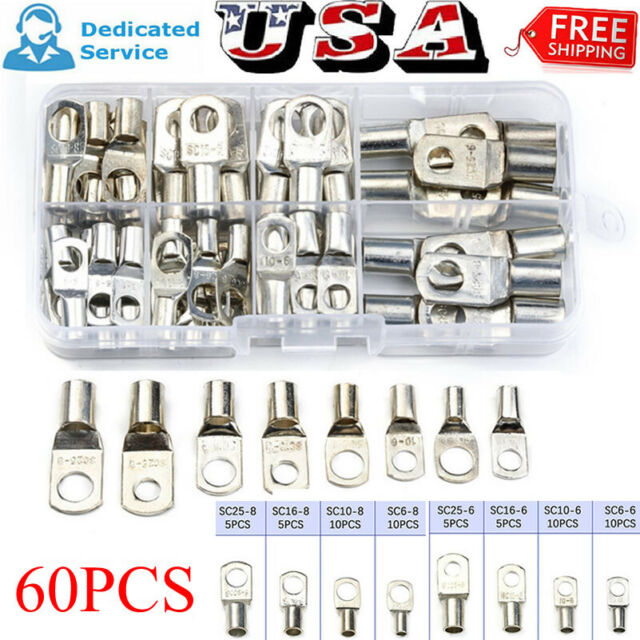 60 Copper Tube Terminal Set Battery Welding Cable Lug Ring Crimp Connectors Tool