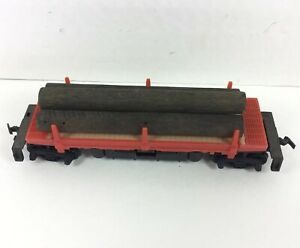 HO-Scale-TYCO-Log-Side-Operating-Dump-Car-Logs-Load-Red