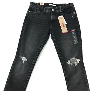 LEVIS-711-Skinny-Fit-Black-Tag-Womens-Distressed-Faded-Black-Jeans-8M-29x30-NEW