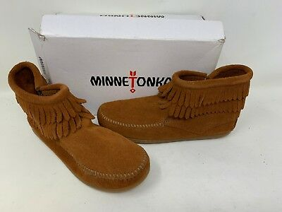 Minnetonka Toddler Girl/'s Double Fringe Side Zip Boots Brown #2292 169A tz NEW