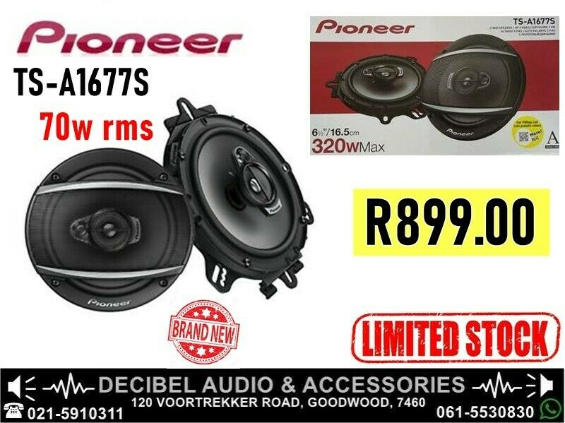 Pioneer TS-A1677S 320w (3-Way) Speakers, 70w RMS