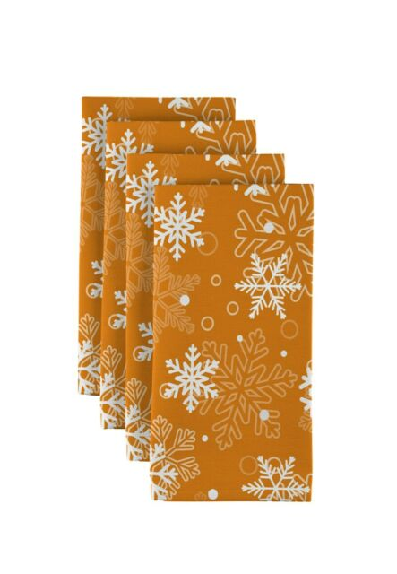 Assorted Sizes! 100/% Milliken Polyester Winter Snowflakes Orange Tablecloths