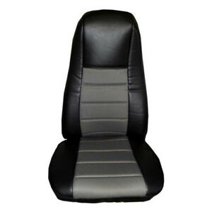 Seat Cover w Pocket Black Gray Leather Peterbilt
