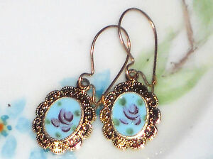 #1494G Vintage Earrings Guilloche Enamel Floral Gold Plated Ornate Dangle Blue