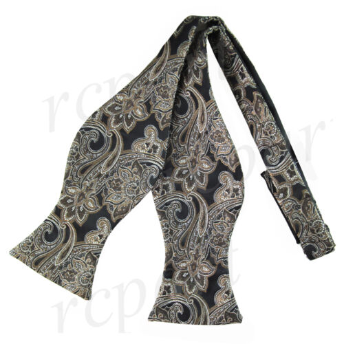 New men/'s self tie free style bowtie paisley poly Woven formal black brown 569R