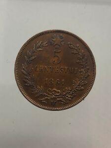 3-Kingdom-D-039-Italia-Vittorio-Emanuele-II-5-Cents-1861-Milano-Spl-Surveying
