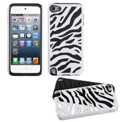 Apple iPod Touch 5 ZEBRA FUSION HYBRID CASE SKIN COVER ACCESSORY WHITE BLACK