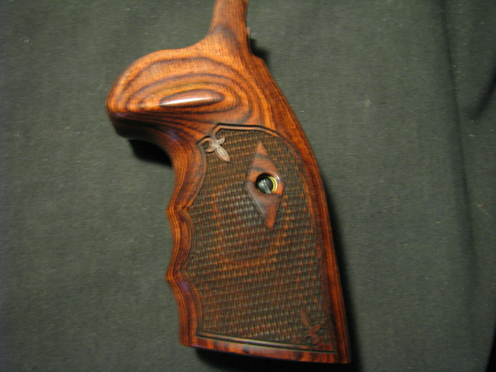 Smith Wesson K/L Rosewood Frame Rosewood K/L Grips Chk FG OS Round-Butt CONVERSION Beautiful 242975