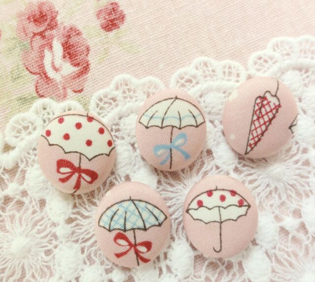 5 BEAUTIFUL UMBRELLAS Fabric Covered Funky Buttons Quilting Cothing
