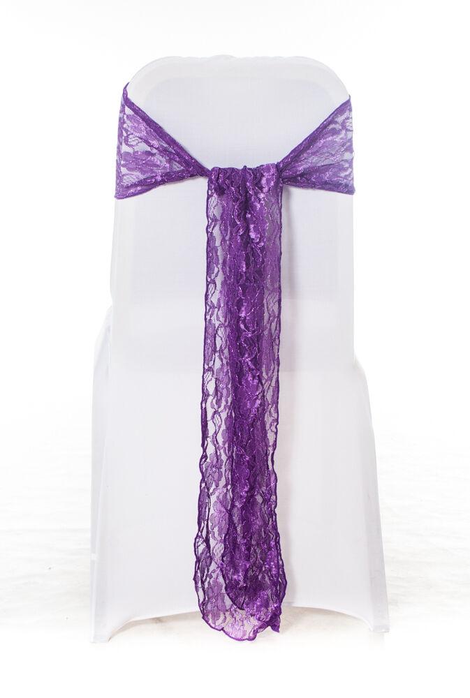 100 Cadbury Lila Spitze Stuhlbezug Schärpe Scheife Hochzeit Party UK