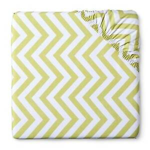Circo Woven Fitted Crib Sheet - Chevron - Lime Baby Cotton NEW Nursery