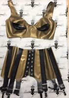 R159/r096 Westward Bound Latex Rubber Gold/blk Size 12/36 Bust Uk