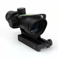 4x32 Acog Style Real Red Or Green Fiber Source Dual Illuminated For Airsoft
