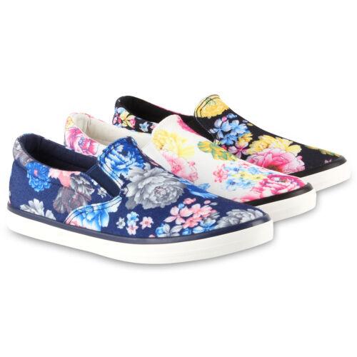 Bequeme Damen Slip-ons Blumen Prints Sneakers Slipper Flats 79044 Schuhe