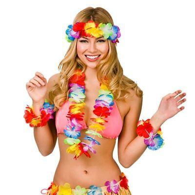 Aloha Hawaiin Glamour Four Piece Hula Girl Set Womens Fancy Dress Accessory