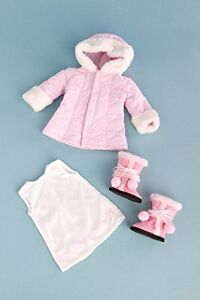 Cotton-Candy-Pink-Parka-Hood-Short-Ivory-Dress-Pink-Boots-for-18in-American-Doll