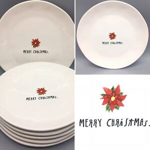 Christmas Plate Set.Details About 6 Rae Dunn Merry Christmas Dinner Plate Set Red Poinsettia Farmhouse Pottery 11