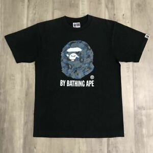 A BATHING APE BAPE Kaws Collabo Ape Head TEE Cloud camo Size M Rare