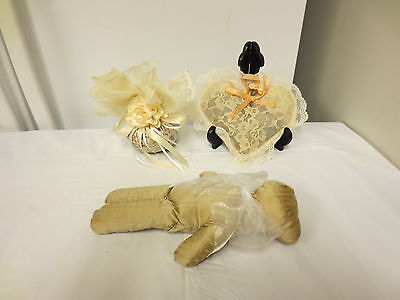 Lot 3 Older Fancy Vanity Sachets: Lace Heart, Rose Ball, Jessica McClintock Cat