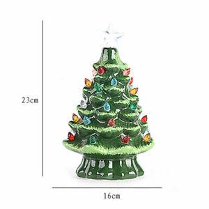 Christmas Tree With Lights Nostalgic Ceramic Green Glaze Table Top Xmas Decor | eBay