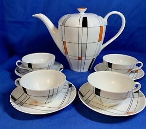 Mid-Century-Modern-Wawel-Poland-Coffee-Service-Teapot-W-4-Cup-amp-Saucer-1970-s