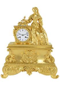 PENDULE SEVIGNE. Kaminuhr Empire clock bronze horloge antique pendule uhren