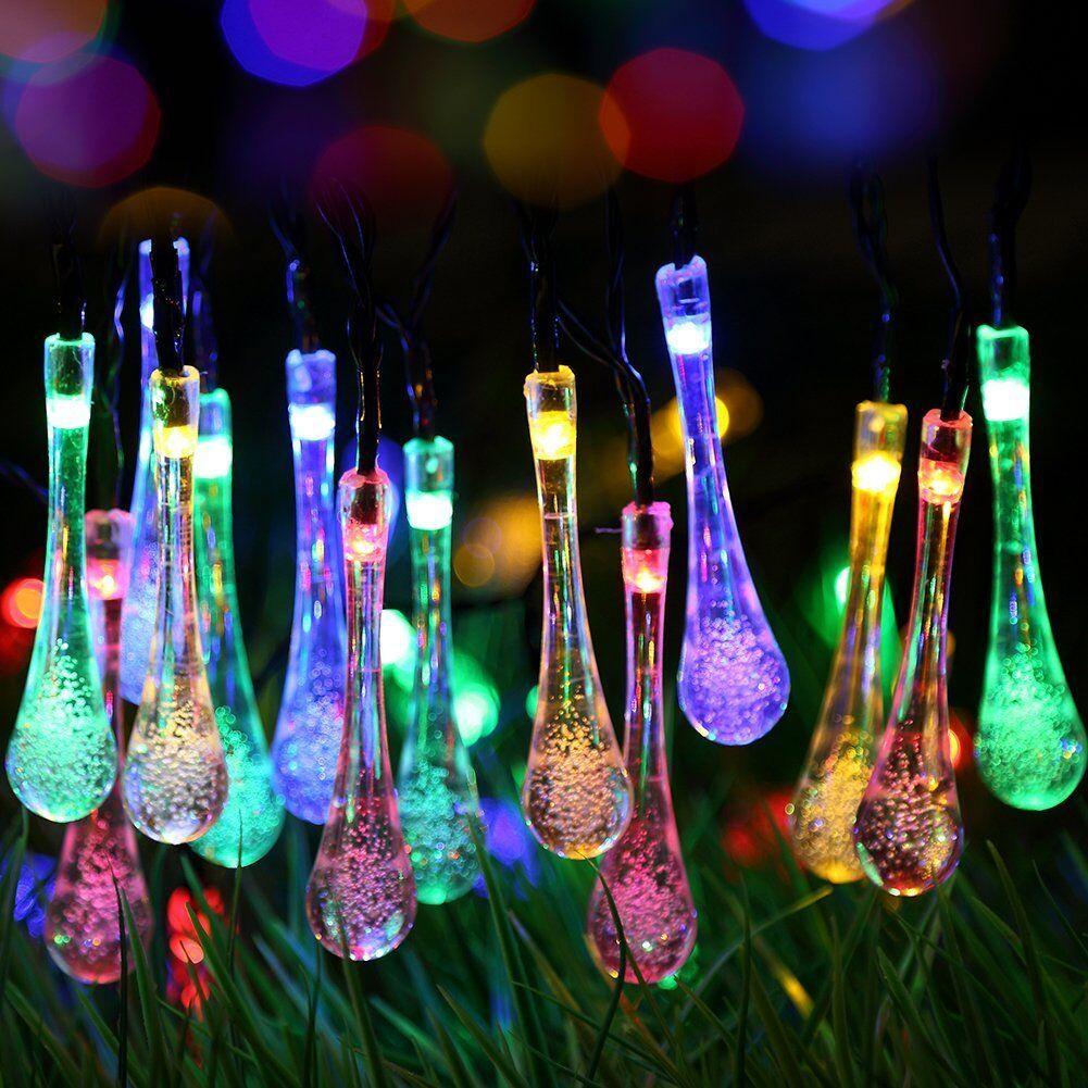 Outdoor Solar Fairy Lights Uk: Solar Outdoor String Lights 20ft 30 LED Water Drop Fairy