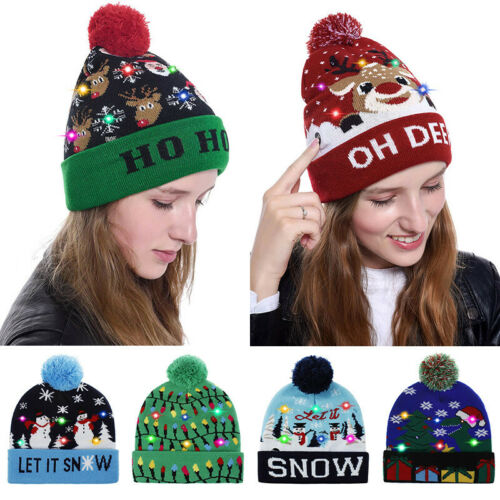 Unisex LED Colorful Lighted Christmas Beanie Hat Knitted Santa Claus Party Cap
