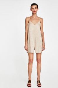 4be7195ed61 Image is loading Zara-Ladies-jumpsuit-faux-suede-new-small-suede-