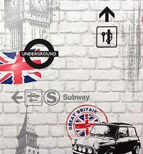 Tapete Rasch Kids' Club 234800 Steine London Big Ben grau schwarz (1,61€/1qm)