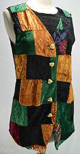 VTG HI STUDIO crushed velvet vest colorful block floral pattern V neck long S