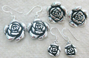 719b5dc03 Image is loading 925-STERLING-SILVER-034-Oxidised-Rose-034-Studs-