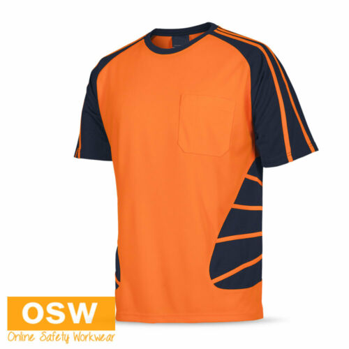 3 X HI VIS COOL BREATHABLE SAFETY SPIDER TRADIES//BUILDER WORK S//S TEES T-SHIRTS
