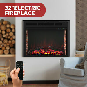 32-034-Electric-Fireplace-Insert-Heater-Wall-Mounted-w-Remote-Control-750W-1500W