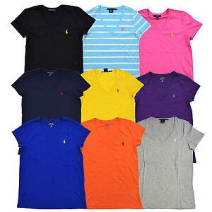 Ralph-Lauren-Womens-T-Shirt-Jersey-Tee-V-Neck-Top-Pony-Logo-Xs-S-M-L-Xl-NEW-Nwt