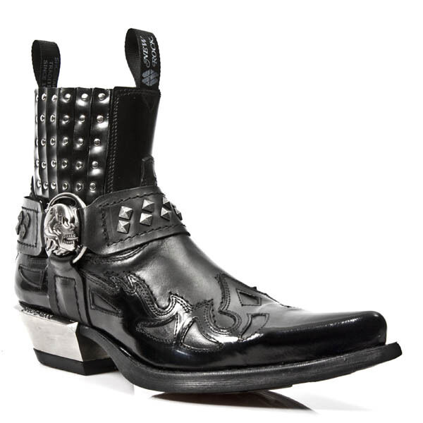NewRock Goth NEW ROCK M.7950-S1 Negro Ankle botas Western Goth NewRock Strap Skull Stud Metal e33d44