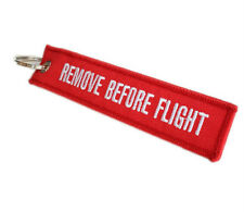 White Letters Remove Before Flight Key Chain Tag Pull Woven Keyring Embroidery