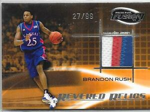 2009 Press Pass Fusion - BRANDON RUSH 3 Color College Jersey Patch - KANSAS /99