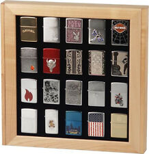 MAPLE CUPBOARD CABINET DISPLAY BOX CASE for 20 ZIPPO LIGHTERS * NEW *