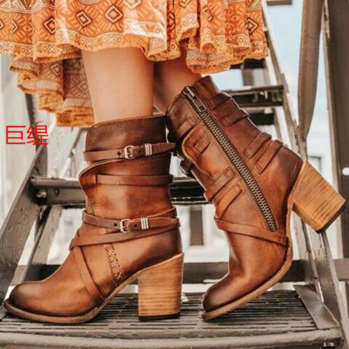 Women Fashion Retro Round Toe Buckle Strap Block Heels Shoes Ankle Boots size