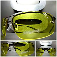 DRIVING RIDING Day Night High Definition Vision Yellow Lens SUN GLASSES Gunmetal