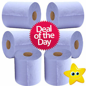 6-x-2-Ply-Blue-Centre-Feed-Embossed-Paper-Wipes-Rolls-Hand-Towel-Tissue