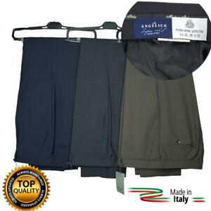 Pantaloni Uomo Classici in Pura Lana di Tasmania ANGELICO Leggeri Eleganti Blu