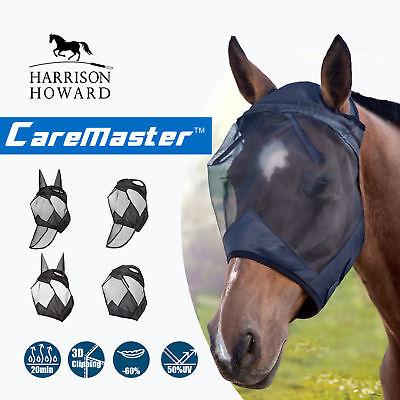 Harrison Howard Horse Fly Mask Hood Standard Mesh Fleece padded Anti-UV Black