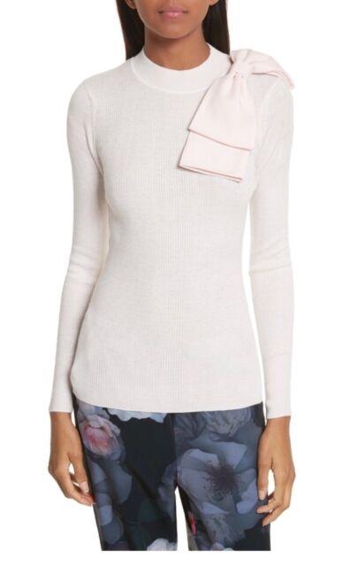 TED BAKER LONDON Nehru Bow Skinny Rib Knit Sweater Light Pink Size 0 NWT