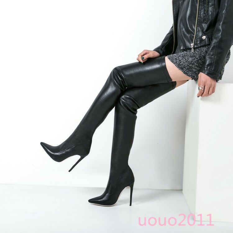 Women Stiletto Sexy Stretchy Over The knee Thigh High Boots Pointy Toe Hot shoes