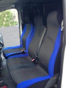 DOUBLE VAUXHALL VIVARO 2010 PREMIUM BLUE PIPING VAN SEAT COVERS SINGLE