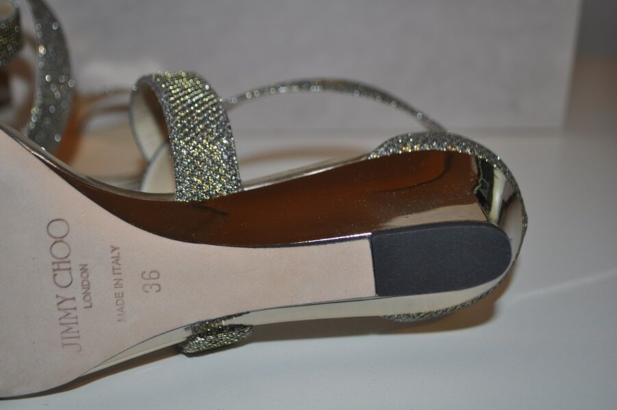 NIB $675+ Jimmy Choo CHIARA Strap Light Bronze Glitter Wedge Wedge Glitter Sandal schuhe 36 / 6 504bf6